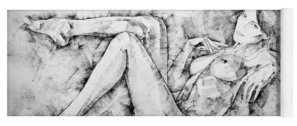 Sketchbook Page 46 Drawing Woman Classical Sitting Pose Yoga Mat