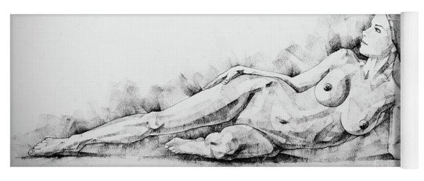 Sketchbook Page 51 Figure Drawing Fine Art Woman Classical Pose Yoga Mat
