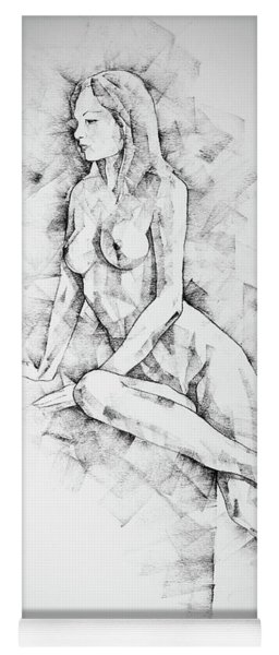 Sketchbook Page 57 Woman One Side Sitting Pose Drawing Yoga Mat