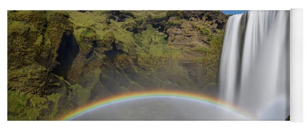 Yoga Mat featuring the photograph Skogafoss And Companion Rainbow by Rikk Flohr