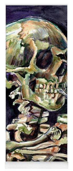 Skull Of A Skeleton With Burning Cigarette Yoga Mat