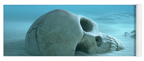 Skull On Sandy Ocean Bottom Yoga Mat