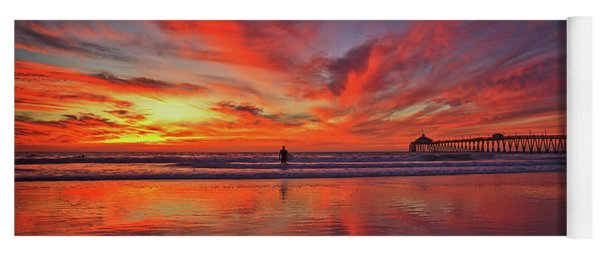 Sky On Fire At The Imperial Beach Pier Yoga Mat
