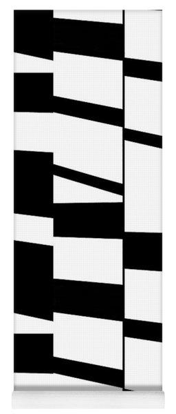Slanting Rectangles - Black And White Graphic Art Yoga Mat