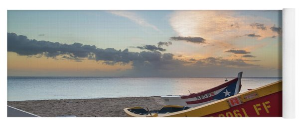 Sleeping Boats On The Beach Yoga Mat