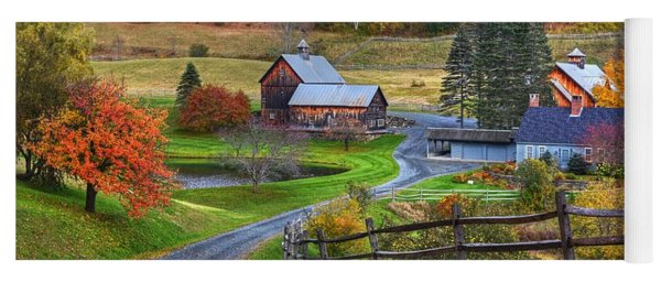 Sleepy Hollows Farm Woodstock Vermont Vt Autumn Bright Colors Yoga Mat