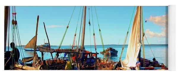 Sleepy Sail Boats Zanzibar Yoga Mat