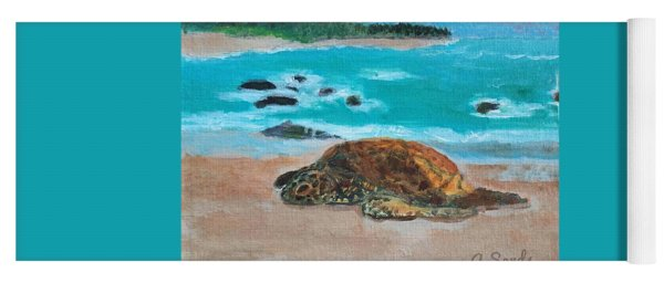 Sleepy Sea Turtle Yoga Mat