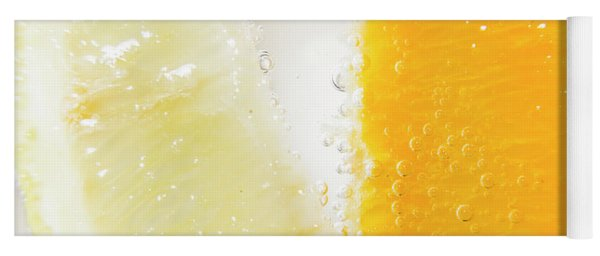 Slice Of Orange And Lemon In Cocktail Glass Yoga Mat