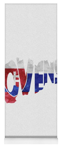 Slovakia Typographic Map Flag Yoga Mat