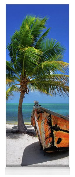 Small Boat And Palm Tree On White Sandy Beach In The Florida Keys Yoga Mat