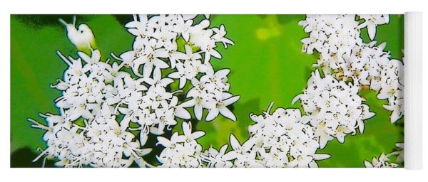 Small White Flowers Yoga Mat