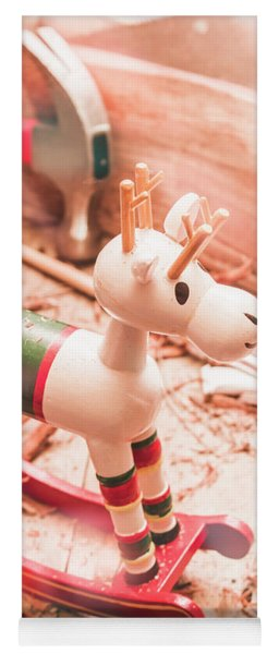 Small Xmas Reindeer On Wood Shavings In Workshop Yoga Mat