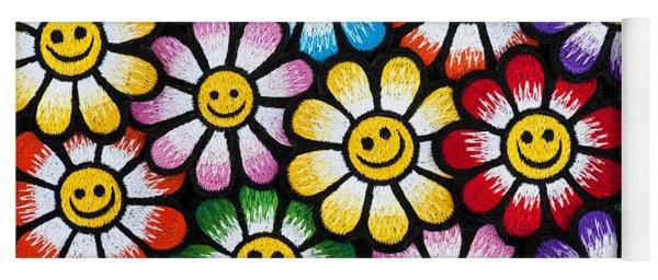 Smiley Flower Faces Yoga Mat