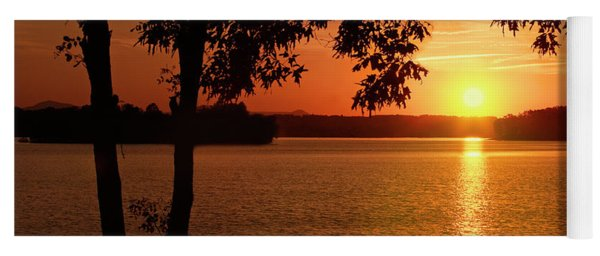 Smith Mountain Lake Silhouette Sunset Yoga Mat