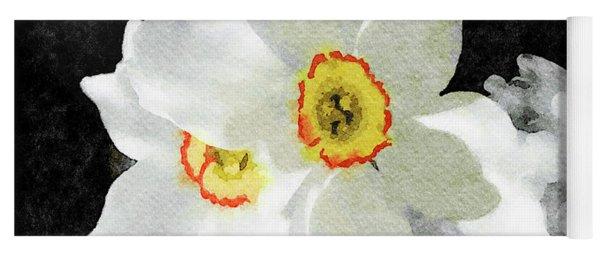 Smokey White Floral Yoga Mat