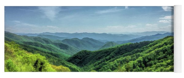 Yoga Mat featuring the painting Smoky Mountains Lush Hills by Christopher Arndt
