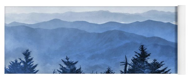 Yoga Mat featuring the painting Smoky Mountains Morning Fog by Christopher Arndt