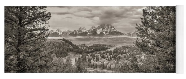 Snake River Overlook Grand Teton Monochromatic Yoga Mat