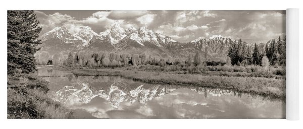 Snake River Reflection Grand Teton Monochromatic Yoga Mat