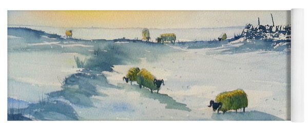 Snow And Sheep On The Moors Yoga Mat