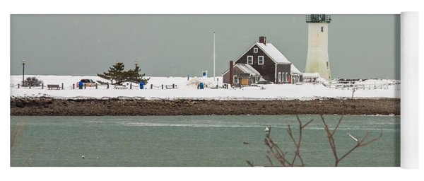 Snow At Scituate Lighthouse Yoga Mat