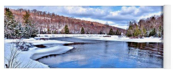 Snow At The River Yoga Mat