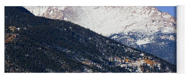 Snow Capped Pikes Peak In Winter Yoga Mat