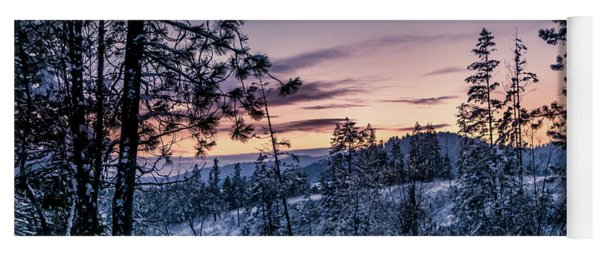 Snow Coved Trees And Sunset Yoga Mat