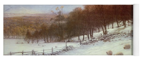 Snow Covered Fields With Sheep Yoga Mat