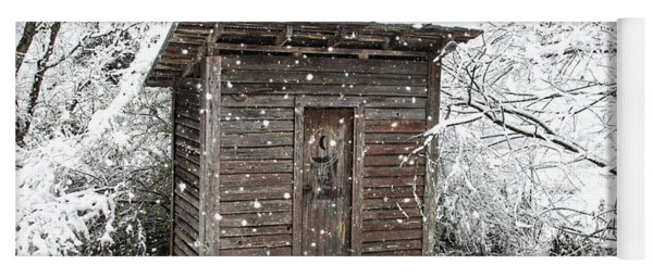 Snow Covered Outhouse Yoga Mat
