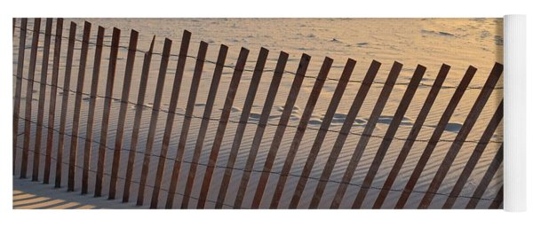 Yoga Mat featuring the photograph Snow Fence On Lake Michigan by Michelle Calkins