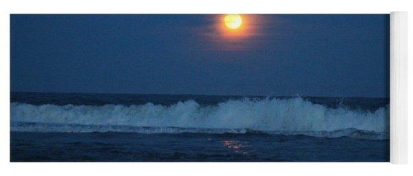 Snow Moon Ocean Waves Yoga Mat