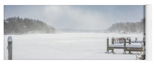 Snow On Lake Charlevoix Yoga Mat