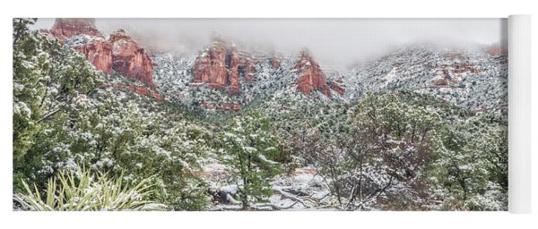 Snow On Red Rock Yoga Mat
