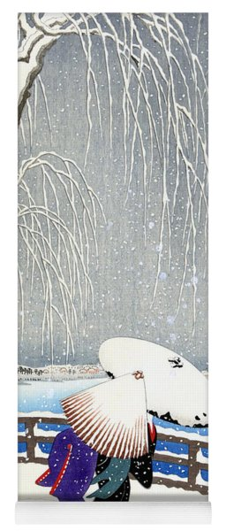 Snow On Willow Bridge By Koson Yoga Mat