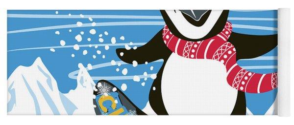 Snowboarding Penguin Yoga Mat