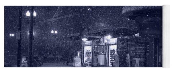 Snowfall In Harvard Square Cambridge Ma Kiosk Monochrome Blue Yoga Mat