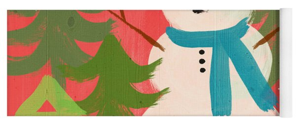 Snowman In Blue Hat- Art By Linda Woods Yoga Mat