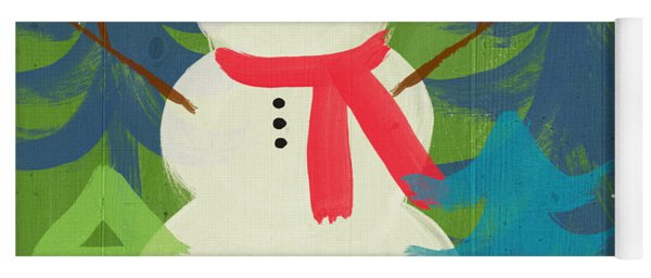 Snowman In Red Hat-art By Linda Woods Yoga Mat