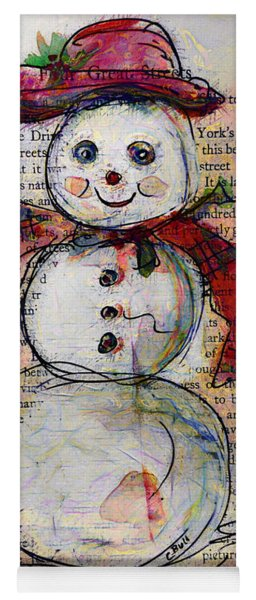 Snowman With Red Hat And Mistletoe Yoga Mat
