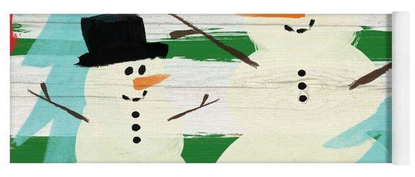 Snowmen With Blue Trees- Art By Linda Woods Yoga Mat