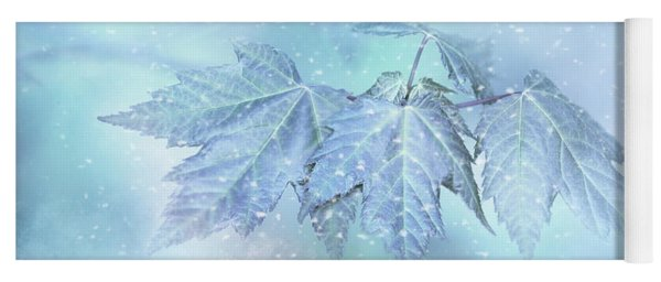 Snowy Baby Leaves Winter Holiday Card Yoga Mat
