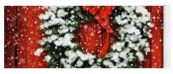 Snowy Christmas Wreath Yoga Mat
