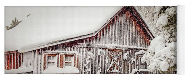 Snowy Country Barn Yoga Mat