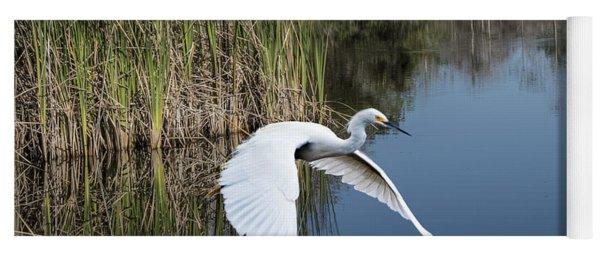 Snowy Egret Flying Over Blue Lake Yoga Mat