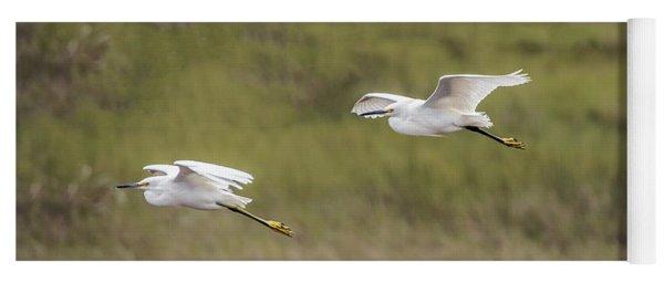 Snowy Egret Pair Flying Across A Plain Yoga Mat
