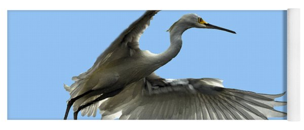 Snowy Egret Reflection In Lake Yoga Mat