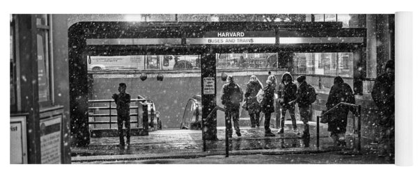 Snowy Harvard Square Night- Harvard T Station Black And White Yoga Mat