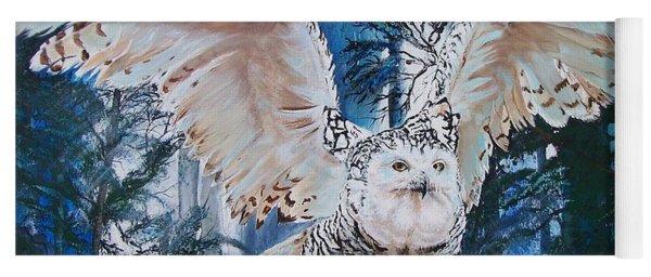 Snowy Owl On Takeoff  Yoga Mat